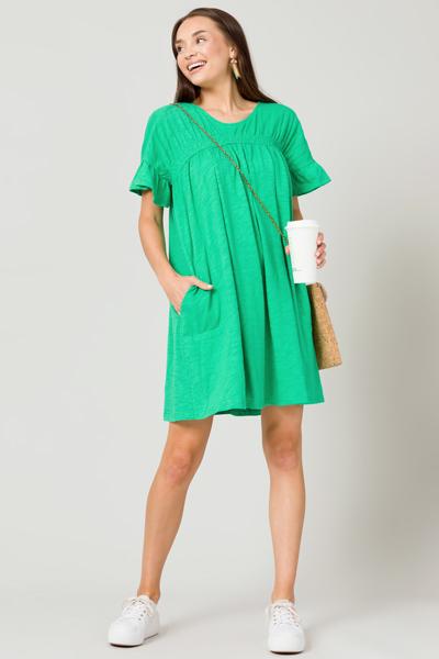 Smock Knit Slub Dress, Green