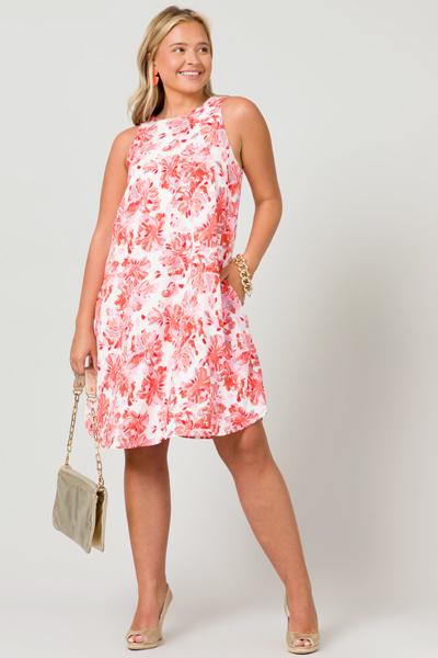 Shift Shape Floral Dress, Coral