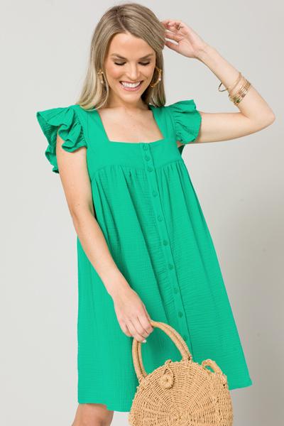 Button Gauze Dress, Green