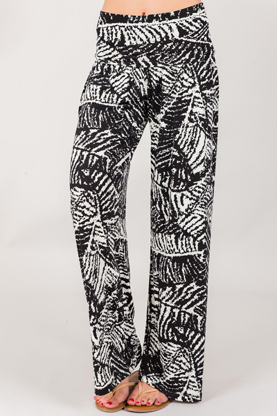 Abstract Leaf Palazzos, Black