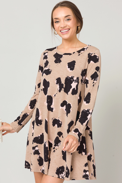 Slinky Smooth Animal Dress, Latte