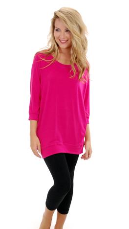 Slouchy Dolman Tunic, Hot Pink