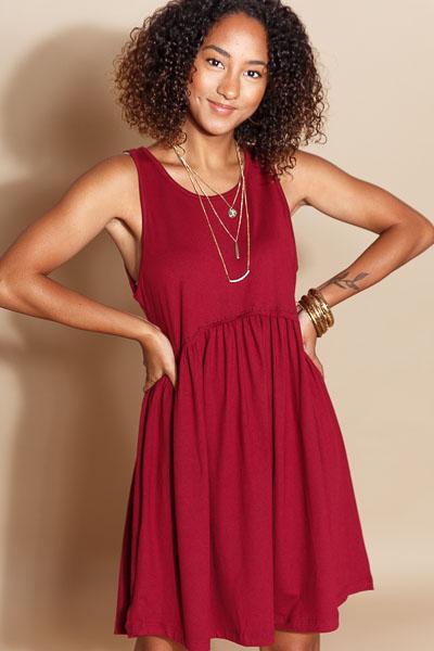 Basic Bliss Babydoll Dress, Burgundy