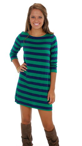 Basic Boatneck, Green Stripe