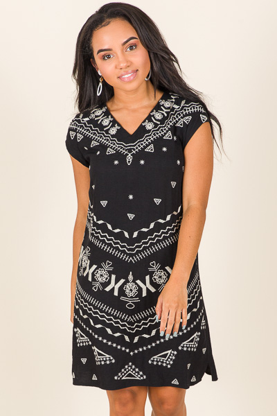 Embroidered Shift, Black
