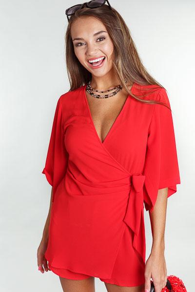 Kimono Sleeve Romper, Red