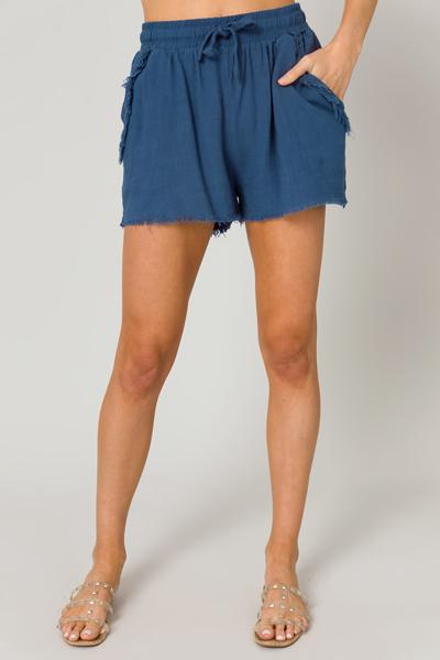 Logan Linen Shorts, Blue