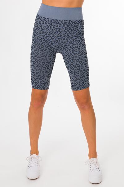 Leopard Biker Shorts, Blue