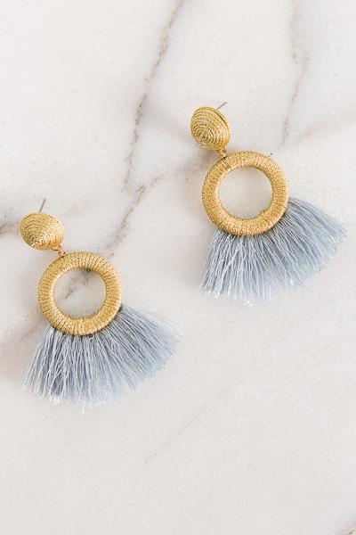 Mystere Earring, Blue Fringe