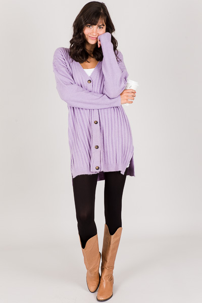 Button Front Slouch Sweater, Purple