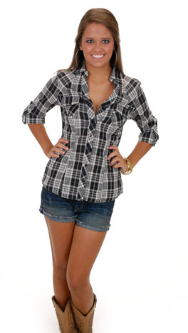 Gone Country Top, Black Plaid