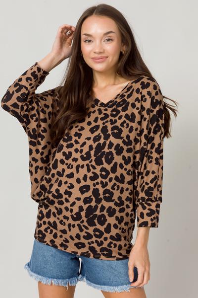 Dolman Sleeve Leopard Top, Mocha