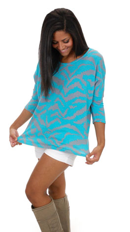 Lux Lounge Top, Aqua