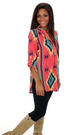 Tab Sleeve Top, Coral Aztec