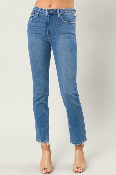 Straight Fray Leg Jeans, Medium