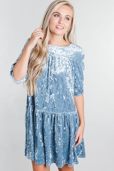 Crushed Velvet Dress, Blue