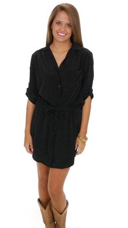 Solid Shirt Dress/Tunic, Black