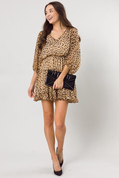 Crinkle Leopard Dress, Taupe