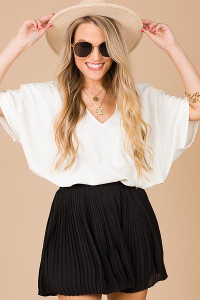 Pleated Skort Shorts, Black