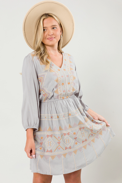 Shiloh Embroidery Dress, Lt. Grey