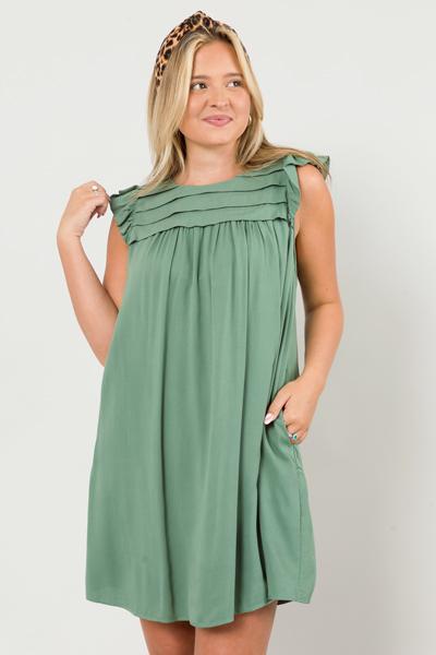 Pleat Chest Dress, Olive