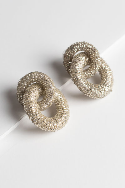 Beaded Link Earring, Silver