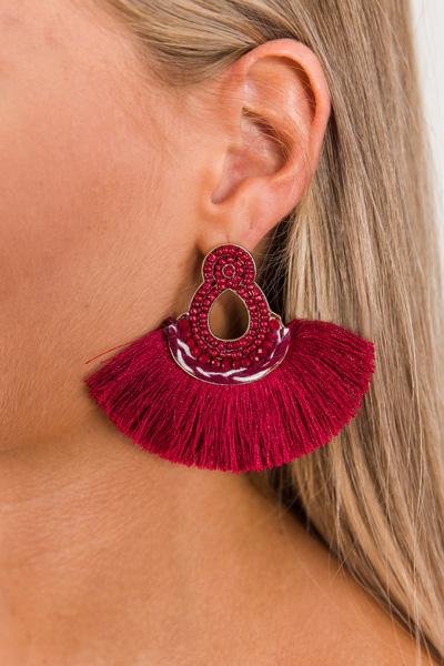 Crimson Fringe Earring