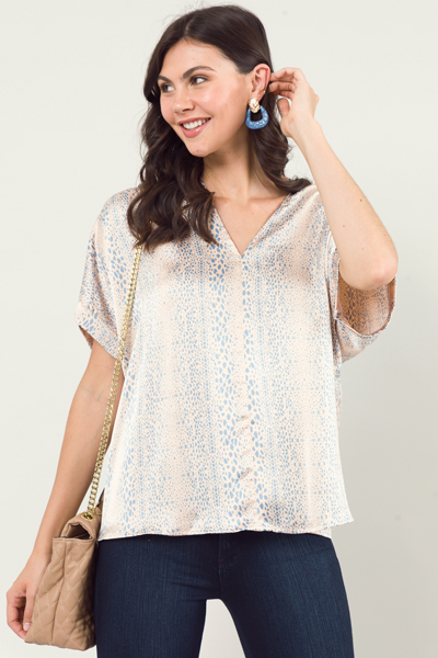 Silky Animal Blouse, Taupe