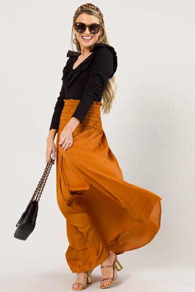 Camel Smooth Maxi Skirt