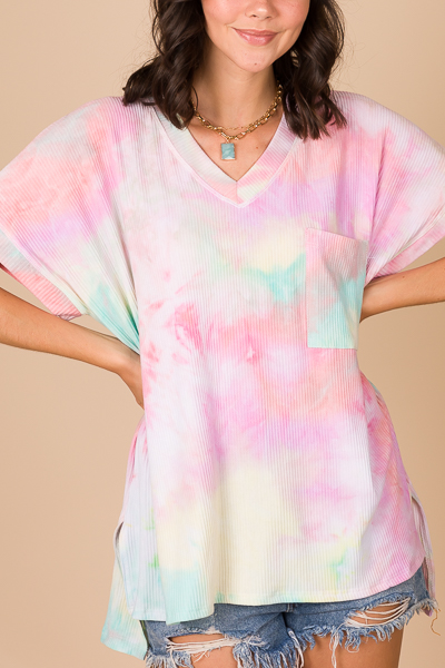 Ribbed Pocket Tunic, Tie Dye