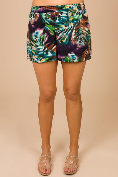 Pull on Shorts, Purple Print
