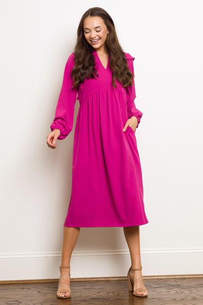 Walker Dress, Hot Pink
