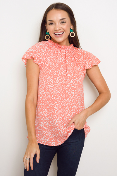 Crepe Leopard Ruffle Top, Coral
