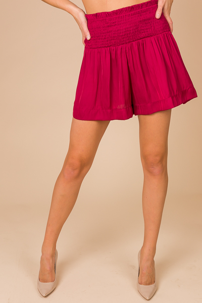 Silky Smocked Shorts, Burgundy