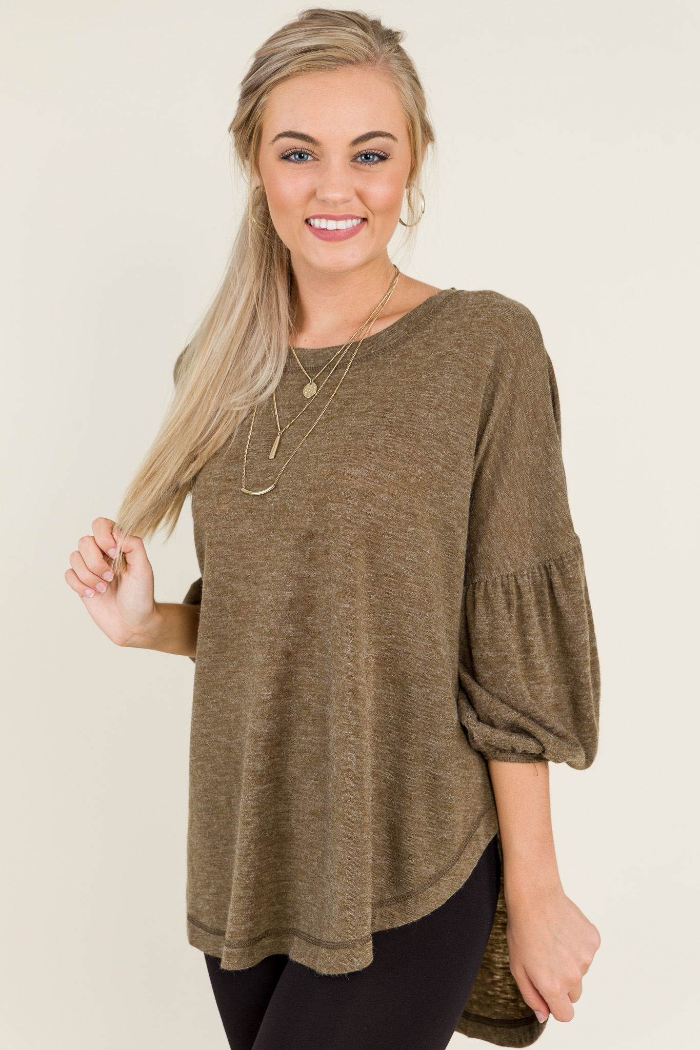 Bubble Sleeve Tunic, Olive