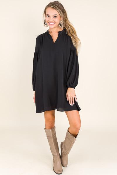Solid Crepe Dress, Black