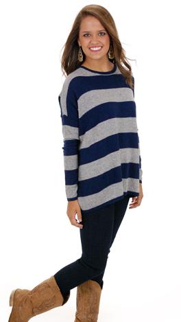 Stripe it Up Sweater, Navy
