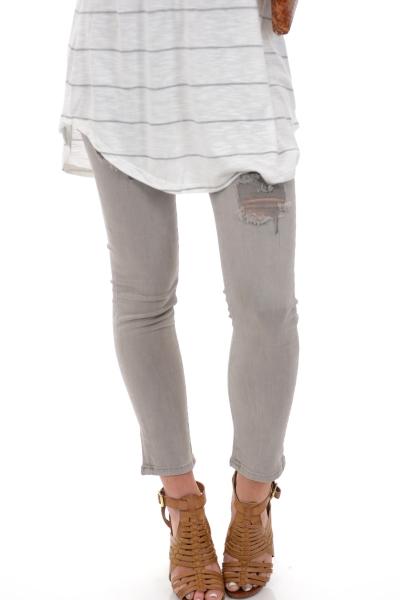 Karlie Distressed Jeans, Gray