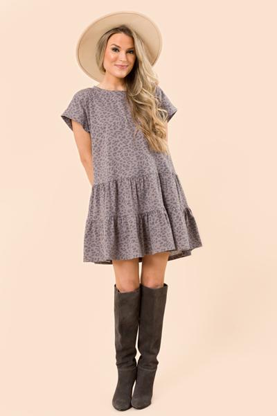 Faded Leopard Knit Dress, Mocha