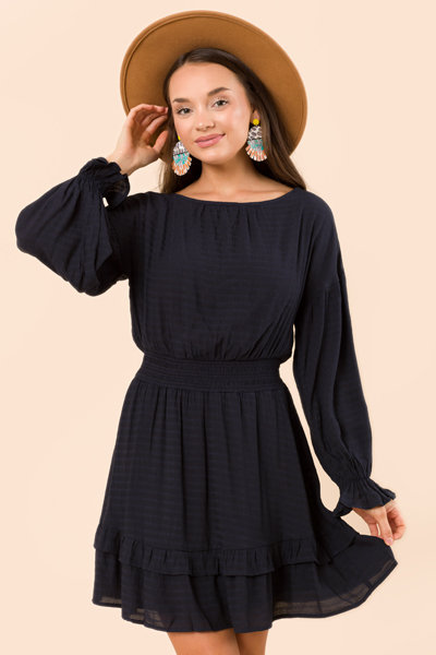 Parker Solid Dress, Navy