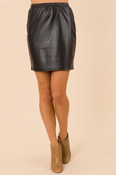 Pull on Leather Skirt, Black