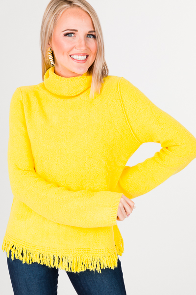 Sunshine Fringe Sweater, Yellow