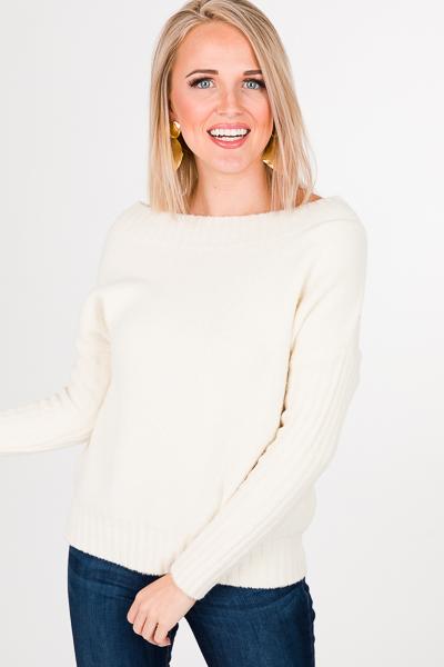Ribbed Sleeve Sweater, Ivory