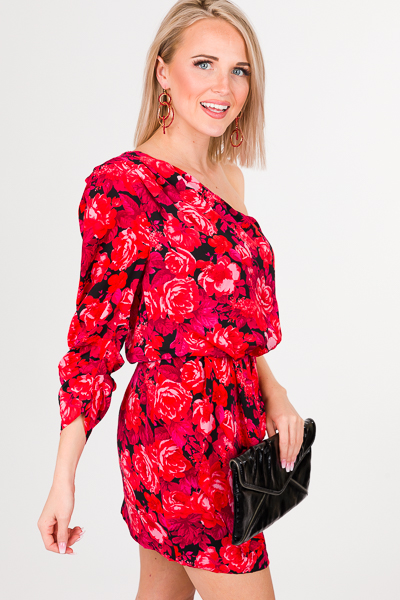 Floral One Shoulder Short Dress