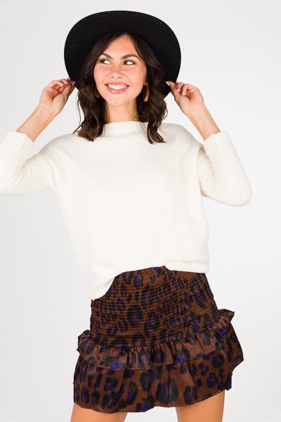 Smocked Skirt, Satin Leopard