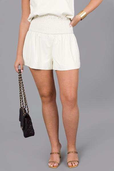 Smock Leather Shorts, Cream