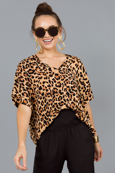 Cheetah Boxy Blouse, Caramel