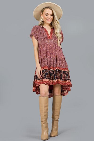 Borders Boho Dress, Mulberry