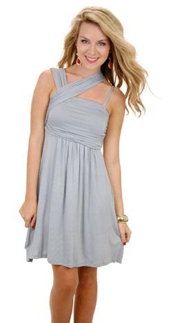 Slanted Straps Knit Dress, Gray