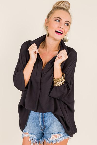 Contemporary Dolman Shirt, Black